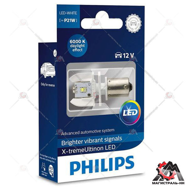 Светодиод P21W 12V/24V- 2W (BA15s) LED White Philips